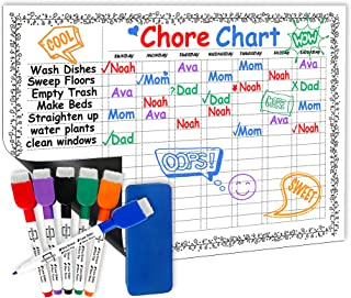 Scribbledo Magnetic Dry Erase Behavior Chore Chart for Refrigerator 11X17 Inch Multi Kid Whiteboard Planner, Includes 6 Ma...