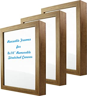 Natural art 8x10 Inch Removable Stretched Canvas with Reusable Frames Pack of 3 for Paintings Wood