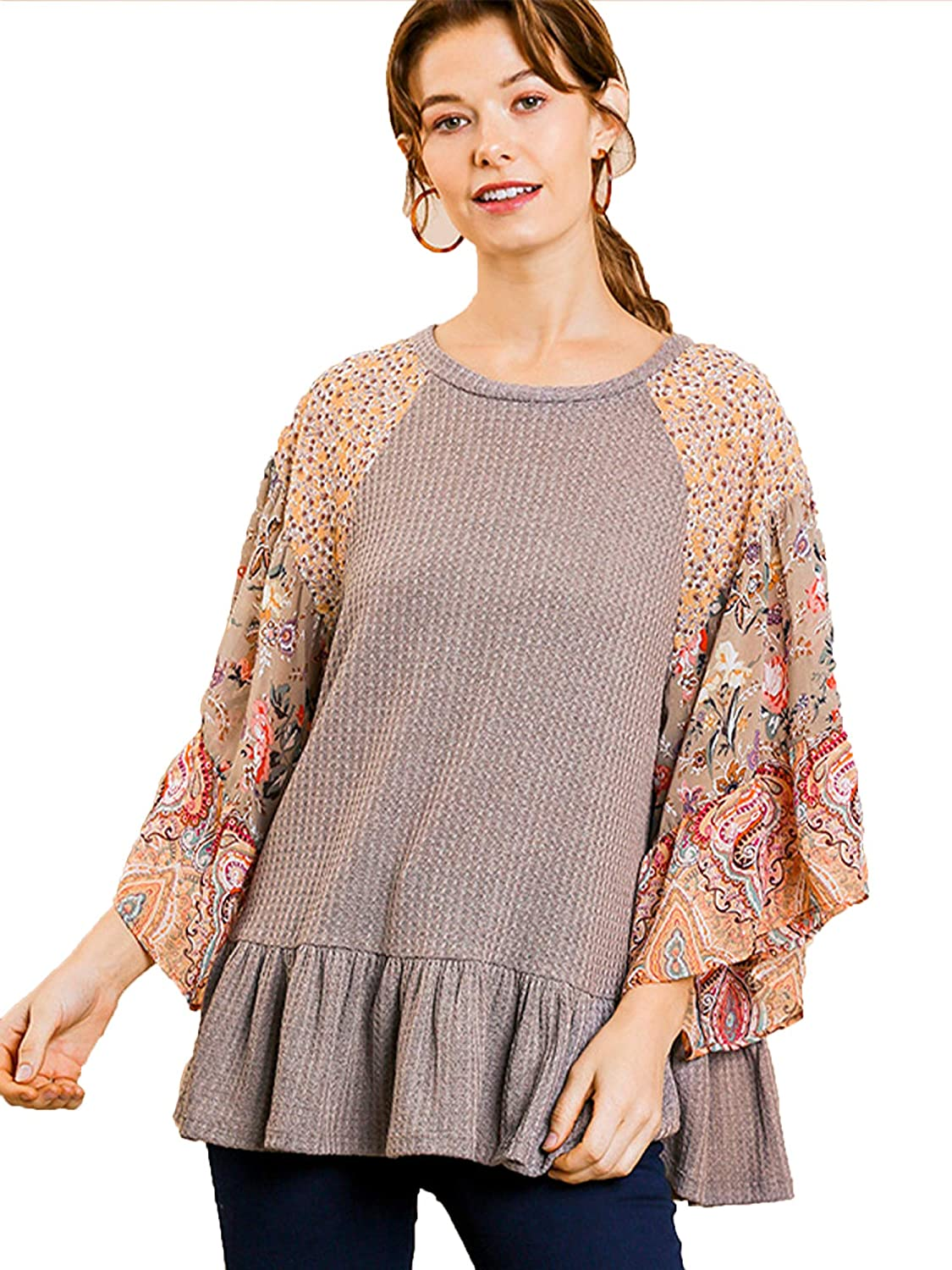 Umgee Women's Challenge the lowest price Waffle Knit Top Department store Print Sleeves Ruffle Floral with