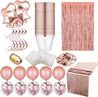 Rose Gold Party Decorations-Sequin table Runners-Rose Gold Napkins- Elegant Rimmed Cups-Rose Gold confetti Ballons-Confetti Table-Foil curtain Photo Booth Backdrops-Let's Create!