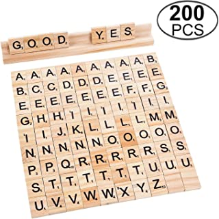 MonkeyJack 100pcs Wooden Pink Letter Tiles with 2pcs Wooden Tile Racks Trays Holders for Crafts Pendants Spelling Games