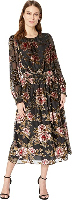 Long Sleeve Floral Velvet Burnout Dress