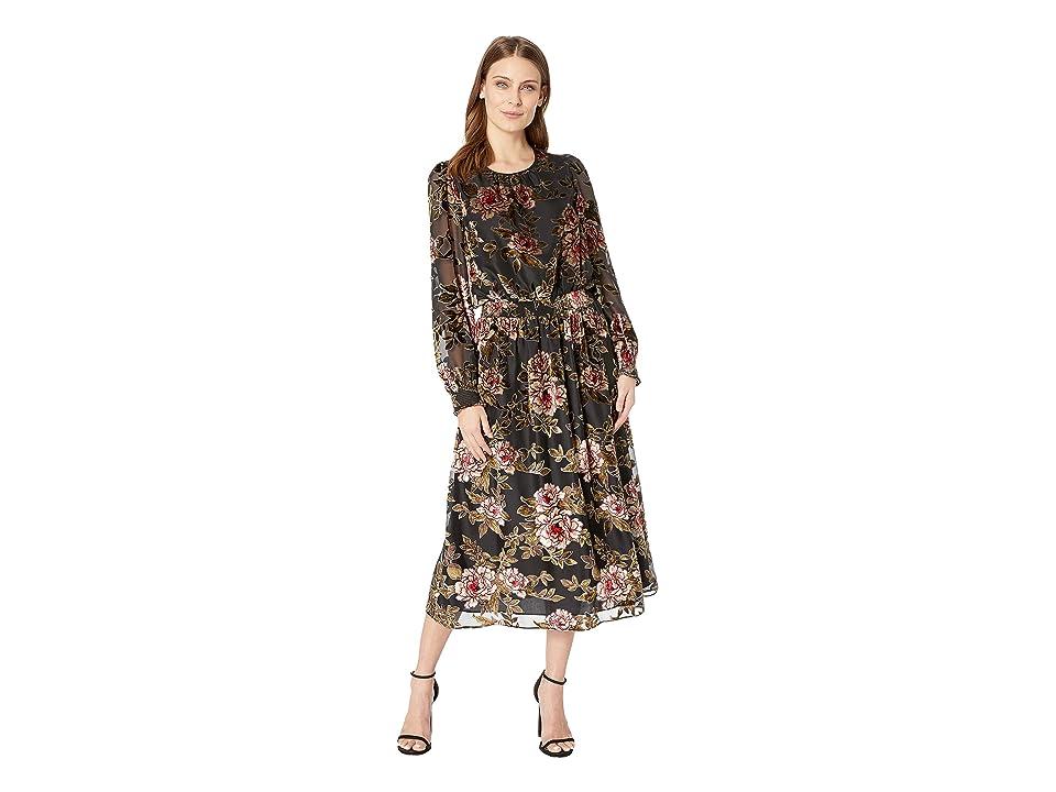 Vince Camuto Long Sleeve Floral Velvet Burnout Dress (Rich Black) Women