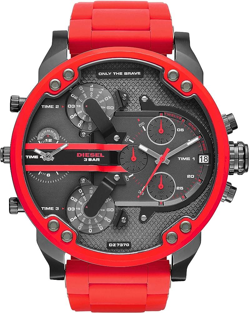 Diesel, orologio,cronografo per uomo , con cassa in acciaio inossidabile e cinturino in silicone DZ7370