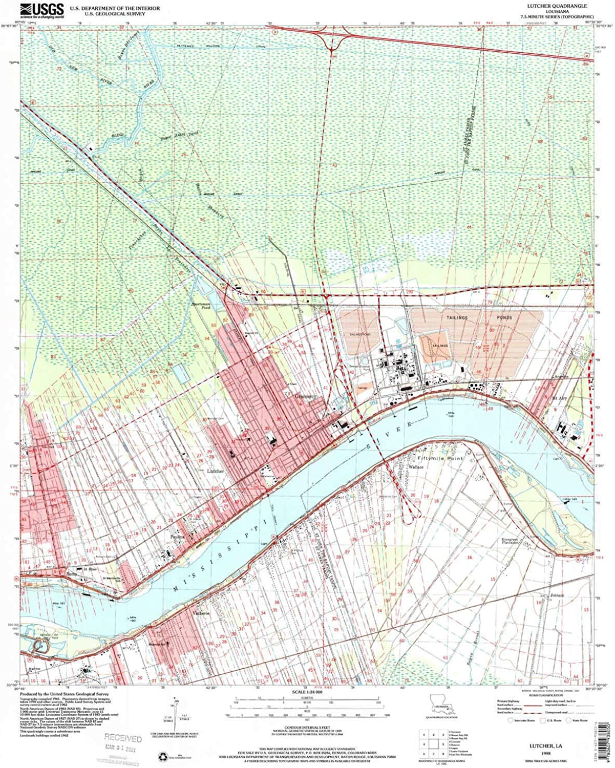 Lutcher LA topo map, 1 24000 Scale, 7.5 X 7.5 Minute, Historical, 1998, Updated 2001, 26.7 x 21.6 in