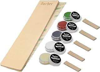 Kit DIY pour Strop d'affûtage en Cuir BACHER Premium. Cuir de Russie tanné de 3mm d'épaisseur, (dimension : 206 mm x 56 mm...