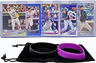 Trevor Story Baseball Cards (5) ASSORTED Colorado Rockies Trading Card and Wristbands Gift Bundle