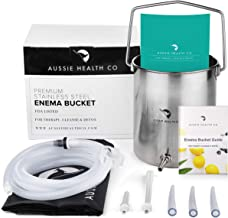 Aussie Health Co Non-Toxic Stainless Steel Enema Bucket Kit. 2 Quart Phthalates & BPA-Free. Reusable For Home Coffee Water Colon Cleansing Detox Enemas. Includes Nozzle Tips and Storage Bag
