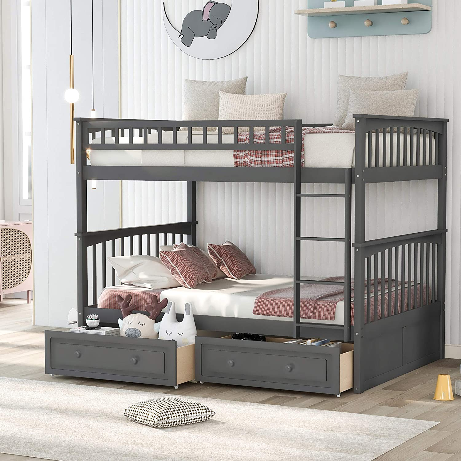 P PURLOVE Full Over Bunk Product OFFicial Bed Drawers with Wood 2