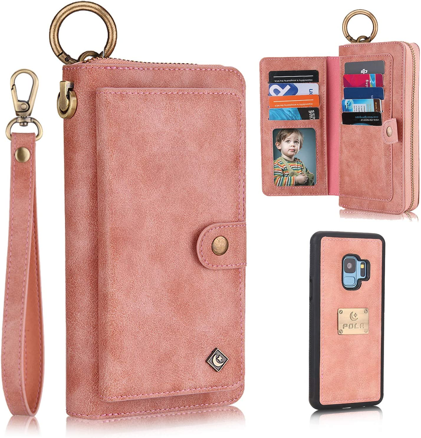 Galaxy S9 Case, XRPow [2 in 1] Magnetic Detachable S9 Wallet Case [Vegan Leather] Zipper Wallet Folio Flip Card Solt [Wrist Strap] Purse Protection Back Cover for Samsung Galaxy S9 - Rose Gold