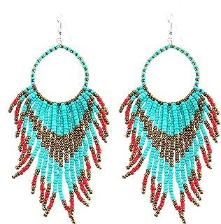 Tribal Dangle Fringe Tassel Bead & Hoop Earrings Native American Style by Pashal