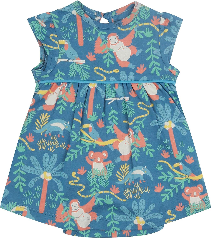 Piccalilly Babykleid mit integriertem Bodysuit weicher Jersey Bio-Baumwolle Regenwalddruck blau