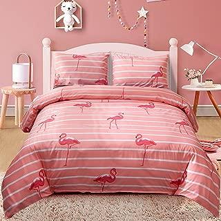 LAMEJOR Duvet Cover Set Queen Size Flamingo Pattern Striped Bedding Set Comforter Cover (1 Duvet Cover+2 Pillowcases) Pink