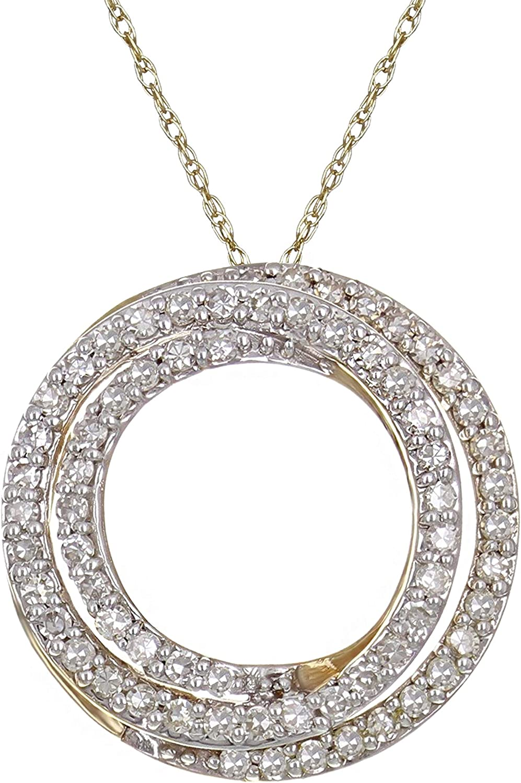 10k Yellow Gold 1 3 ctw Intertwined Max 42% OFF Japan's largest assortment Diamond Pendant Circles Neck