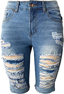 Aodrusa Womens Middle Rise Stretchy Denim Shorts Knee Length Curvy Bermuda Stretch Short Jeans