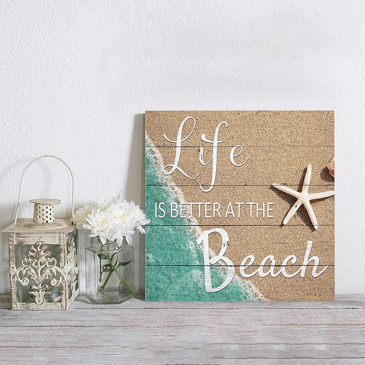 MuswannaA Canvas Wall Art Life is Super popular specialty store Sea The Starfi Beach at Sales for sale Better