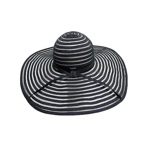 0f8e53cbdbe Luxury Divas Black   Sheer Striped Wide Brim Floppy Hat