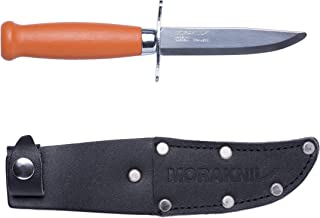 Morakniv Classic Scout 39 Safe Knife with Sandvik Stainless Steel Blade and Leather Sheath, 3.3-Inch