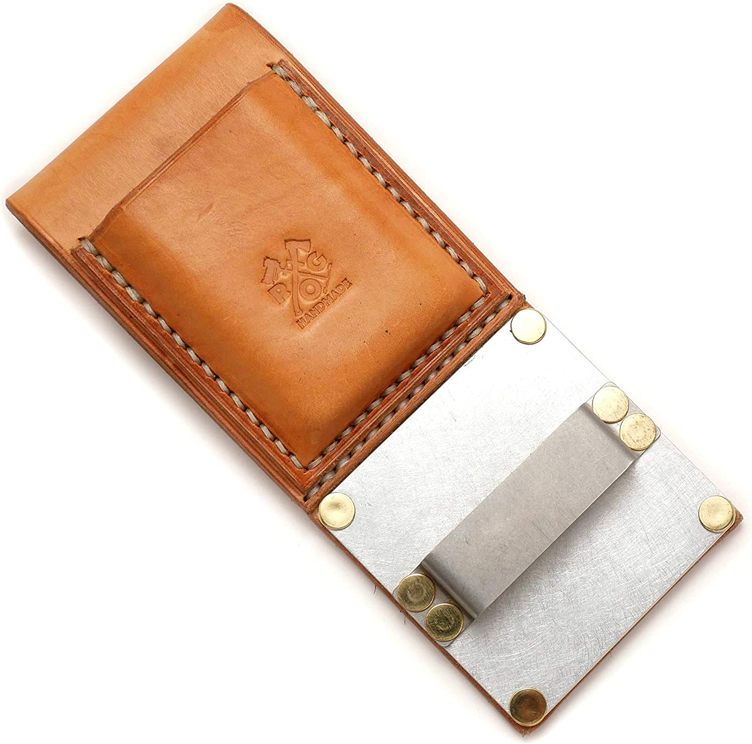 Tape Measure Holster (with Accessory Pouch, Tan/Natural Leather)