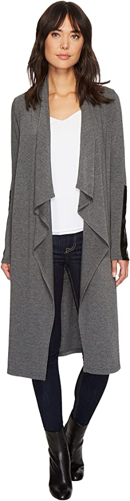 Karen Kane - Faux Leather Patch Sweater Duster