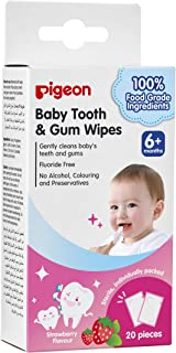 Pigeon Pigeon Baby Tooth & Gum Wipes Strawberry, 20 Count