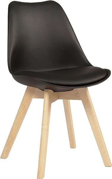 Innovex AC545P29 多伦多口音餐边椅实木腿和填充座垫黑色