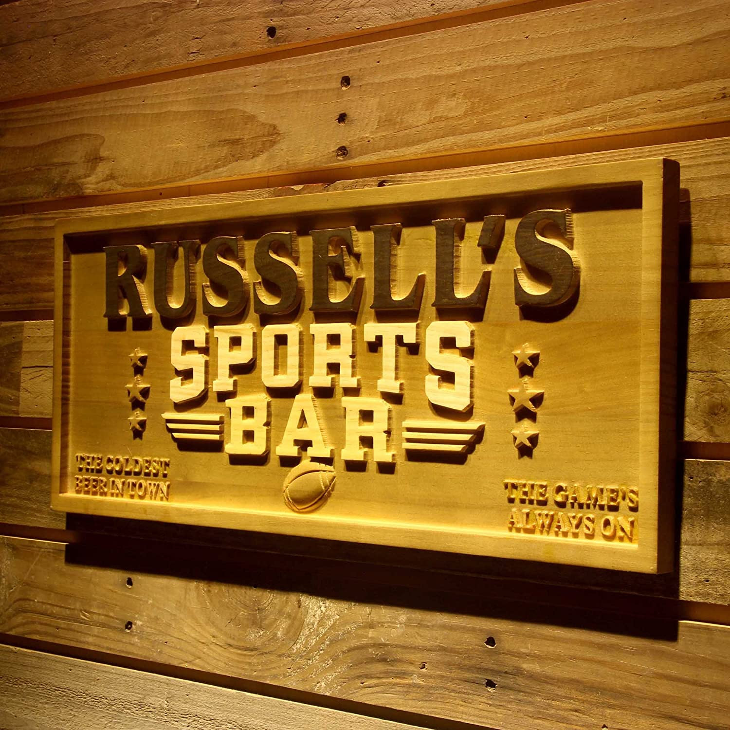 Wpa0077 Name Personalized Sports Bar Football Baseball Basketball Man Cave 3D Engraved Wooden Sign - Standard 23  x 9.25