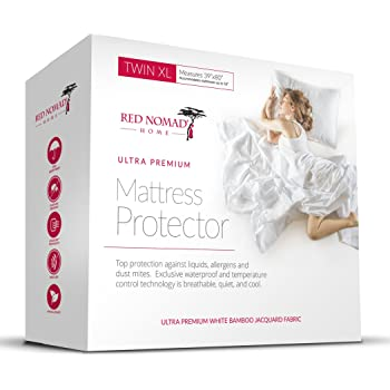 Red Nomad Waterproof Mattress Protector - Bamboo Hypoallergenic Bed Cover with Breathable Cooling Cycle Technology for Maximum Circulation and Comfort - Twin XL Size