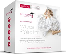 Red Nomad Waterproof Mattress Protector - Bamboo Hypoallergenic Bed Cover with Breathable Cooling Cycle Technology for Max...