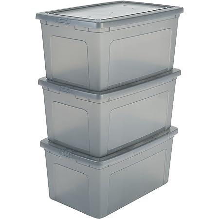 Iris Ohyama 135643 Set de 3 boîtes de rangement Modular Clear Box 50 L, Plastique, Gris, 50L