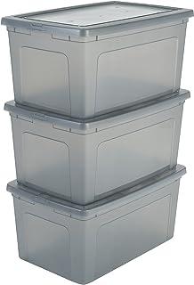 Iris Ohyama, set - 3 boîtes de rangement avec couvercle - Modular Clear Box - MCB-50, plastique, gris transparent, 50L, 59...