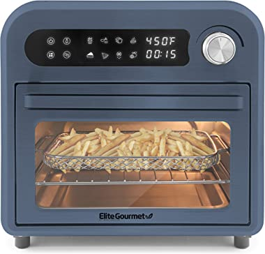 Elite Gourmet Maxi-Matic EAF1010DBG Programmable 10L Fryer Convection Countertop Oven, Temperature + Timer Controls, Bake, To