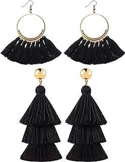 Hestya 2 Pairs Tassel Earrings for Women Girls Handmade 3 Tiered Tassel Dangle Earrings and Gold Hoop Earrings