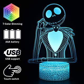 Halloween Town Pumpkin King Jack Skellington 3D illusion Night Light, Anime Table Lamp With Remote Control Jack Skellington Decor For Kids Bedroom, Creative Lighting for Kids and Jack Skellington Fans
