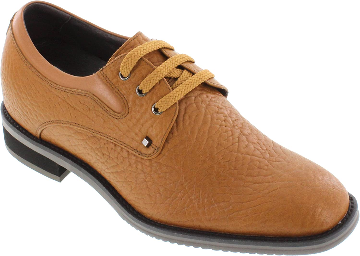 TOTO Men's Invisible Height Increasing Elevator Shoes - Brown Tan Leather Lace-up Lightweight Casual Oxfords - 2.8 Inches Taller - H335082