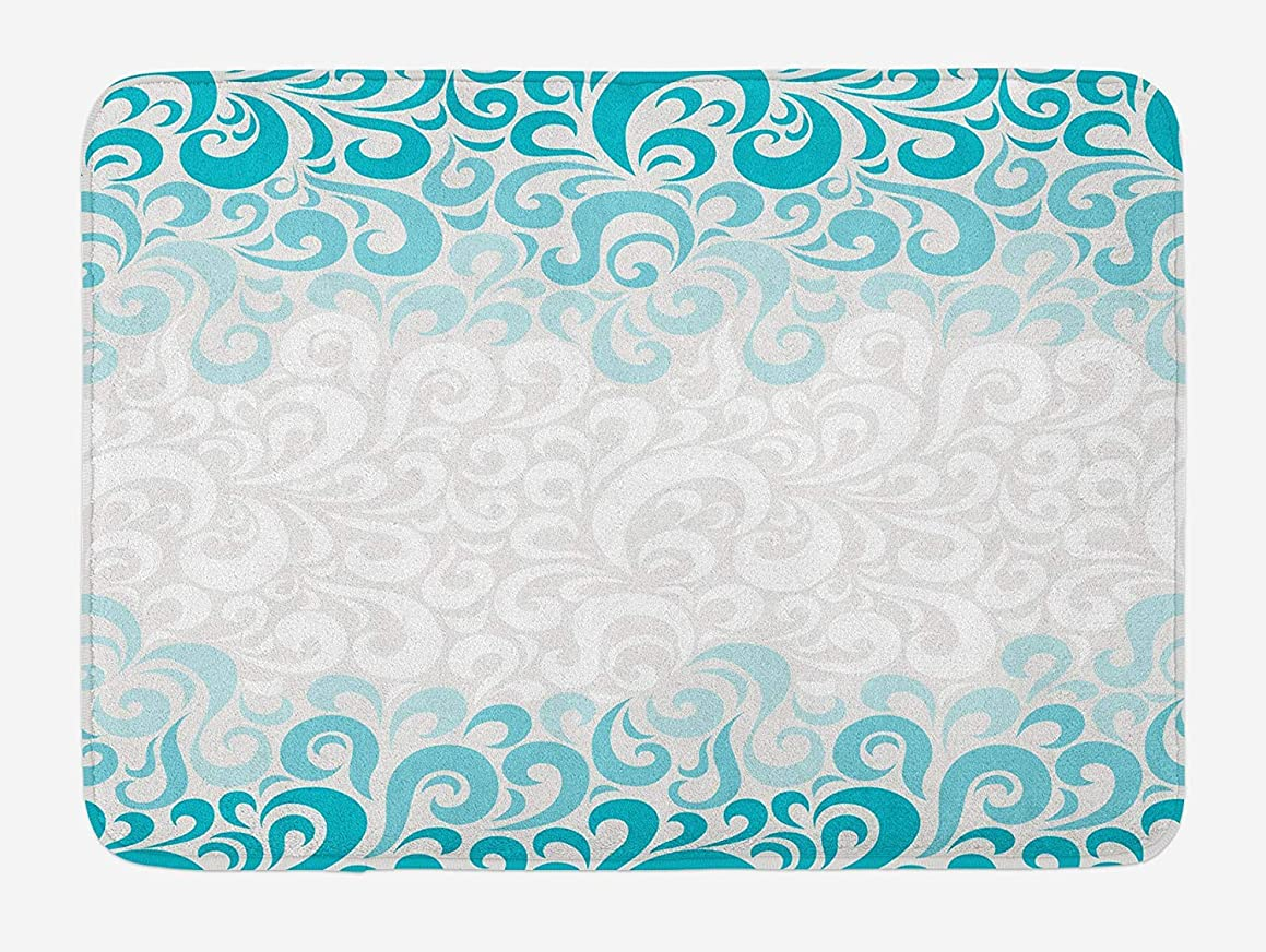 TAQATS Turquoise Bath Mat, Abstract Floral Flowers Pattern Classic Artistic Design Illustration, Plush Bathroom Decor Mat with Non Slip Backing, 23.6 W X 15.7 W Inches, Teal Turquoise White