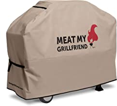 Best Grillfriend Premium Grill Covers | Universal Fit for Char Broil Weber and Other BBQ Grills | Outdoor Gas Grill Waterproof Cover | 58W x 24L x 45H | Meat My Grillfriend Design