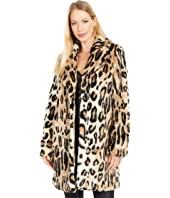 Lana Leopard Faux Fur Coat with Hood
