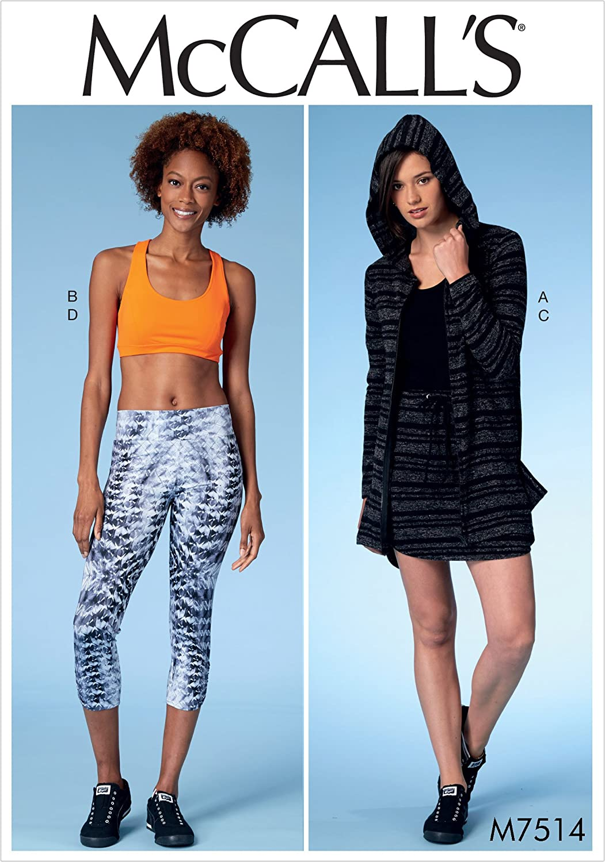 McCall Patterns M7514ZZ0 Jacket with Hood, Sports Bra, Drawstring Skirt and Leggings