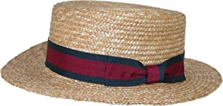 CTM Straw 2 Inch Brim Boater Hat with Navy Band