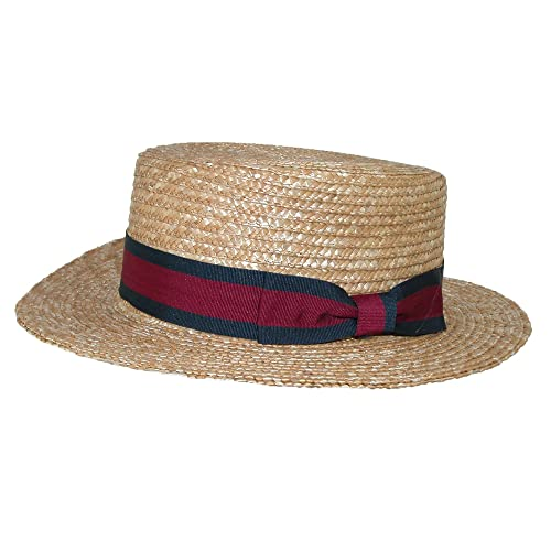 81dab58aa88 CTM Straw 2.5 Inch Brim Boater Hat with Navy Band