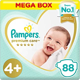 Pampers Premium Care Diapers, Size 4+, Maxi Plus, 10-15 kg, 88 Count