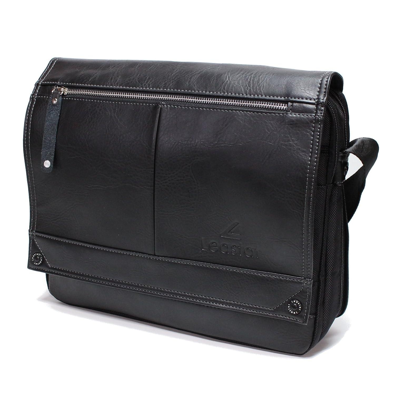 LEASTAT ショルダーバッグ ビジネスバッグ A4 13.3インチ ノートパソコン 収納可能 大容量 斜めがけ 革 バッグ メンズ