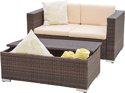 Christopher Knight Home Florence Outdoor Aluminum Chat Set with Cushions, 2-Pcs Set, Brown