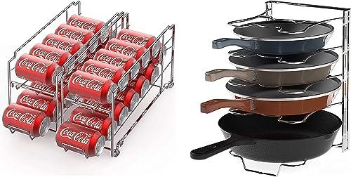 2021 SimpleHouseware wholesale Beverage Can Dispenser Rack + 5 Adjustable 2021 Compartments Pan Organizer, Chrome outlet online sale