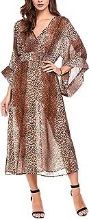 Women's Casual V Neck Wrap Leopard Print 3/4 Flare Sleeve Chiffon Long Dress