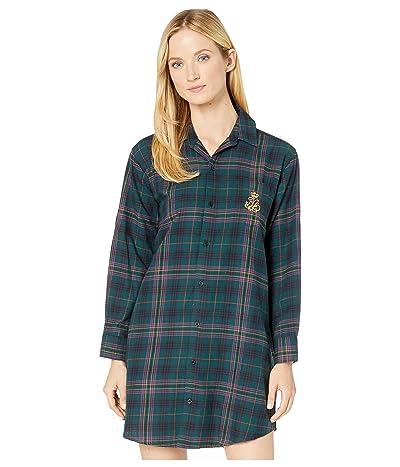 LAUREN Ralph Lauren Brushed Twill Long Sleeve His Shirt Sleepshirt (Green Plaid) Women