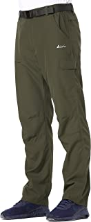 Clothin Men's Belted Side-Elastic Cargo Pants - Lightweight, Quick-Dry, Water-Resistant