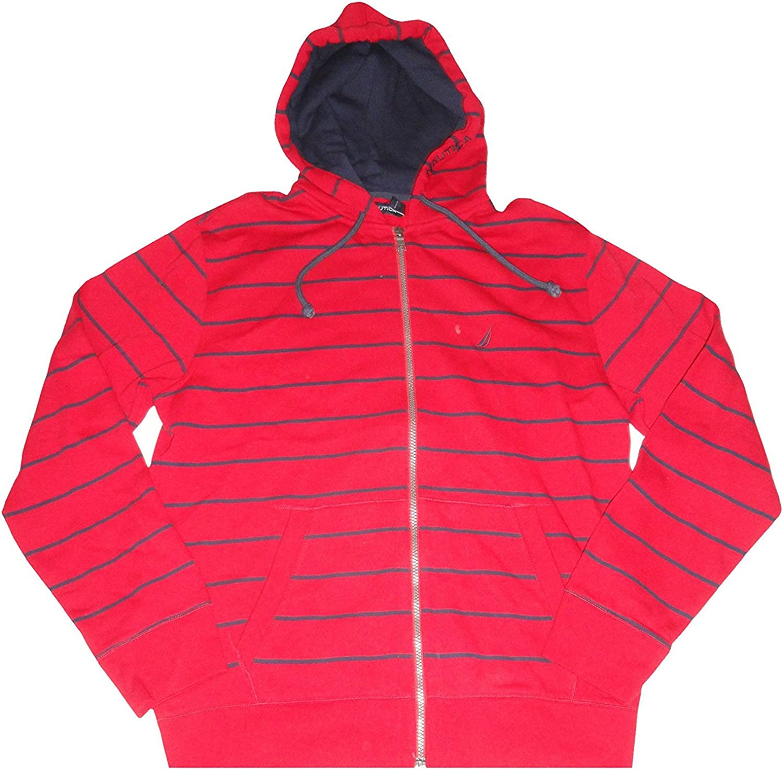 Nautica Men's Hooded Sweat Jacket Hoodie Red Striped, Large