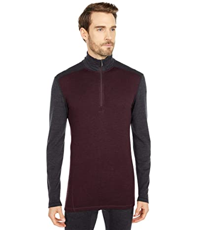 Smartwool Merino 250 Base Layer 1/4 Zip (Woodsmoke Heather/Charcoal Heather) Men